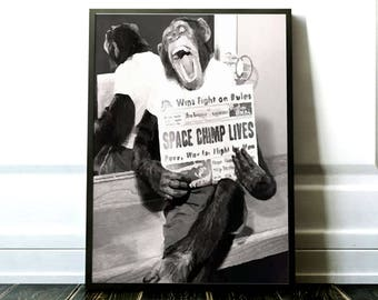 Space chimp print / Space monkey poster / Space poster / Astronaut print / Astronomy print / Vintage photo print / Vector poster
