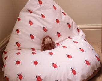 Handmade child's bean bag chair ladybirds or strawberries