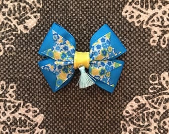 Teal Yellow and Floral Hair Bow with French Barrette clip