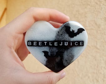 Black and White Beetlejuice Heart Brooch