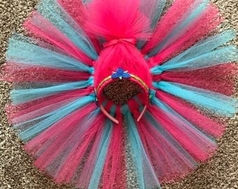 Princess Poppy Costume Set - Trolls inspired costume - Princess Poppy Tutu - Princess Poppy Headband - Branch headband - Custom Trolls Set