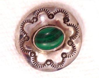 American Indian (Navajo?) Silver & Malachite Button