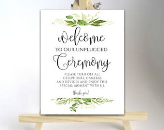 Printable Unplugged Wedding Sign Unplugged Ceremony Sign Unplugged Wedding Unplugged Sign Wedding Unplugged Instant Download DIY Greenery