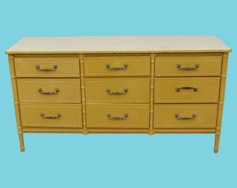 Faux Bamboo Yellow Dresser - Mid-century Faux Bamboo Dresser