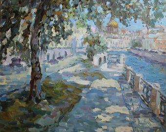 20x24 inches, city view, promenade, Isaac cathedral, sun, Saint-petersburg, river Moyka, architecture, landscape