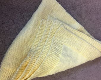 Yellow Knitted Baby Blanket