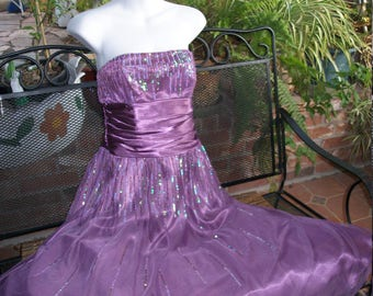 1950s Style Purple Sequin glitter Prom Dress