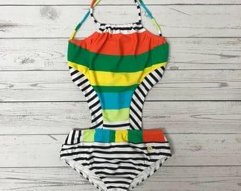 Stripes trikini swimsuit