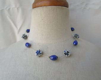 Choker necklace with blue and pink metal blue and silver beads