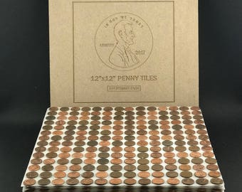"Tile Sheets of US Copper Pennies. Penny Tiles (12""x12"") - FREE SHIPPING!"