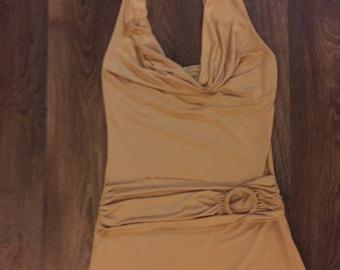 2000's Guess Gold halter mini dress