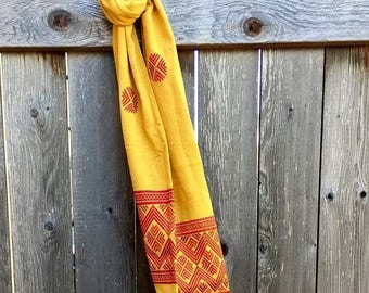 Yellow Summer Hand Embroidered Scarf
