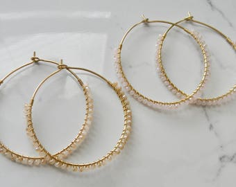 "2"" Gold Beaded Hoops - Neutral or Light Pink"