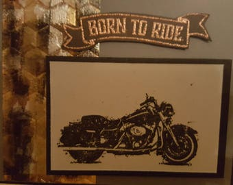 Any Occasion Motorcycle Greeting Card. Born to Ride.