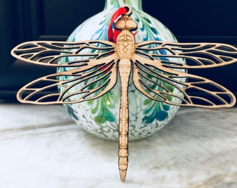 Dragonfly wooden Christmas ornament