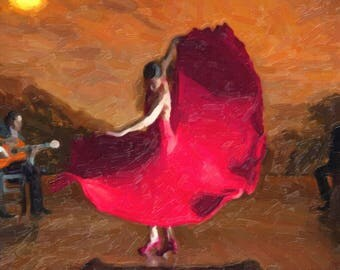 A2, digitised painting of a Flamenco Dancer