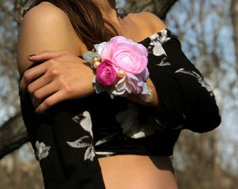 Wrist Corsage - Pink Ranunculus