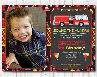 Firetruck Birthday Invitation, Firetruck Invite, Fire truck Birthday,Firetruck party, Photo invitation,  printable