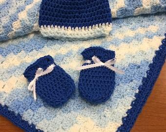 Crochet c2c baby boy blanket