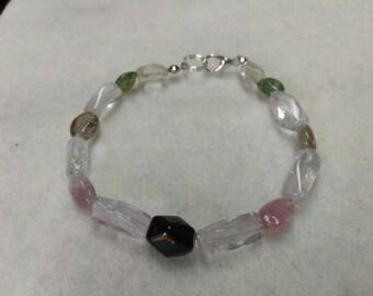 Tourmaline and Smoky Quartz Beaded bracelet