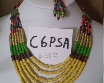 C6PSA 2 pieces necklace and earrings finest ceramic