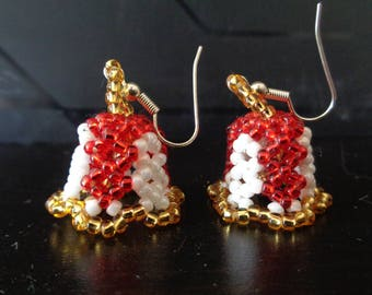 Earrings - red white and gold bells