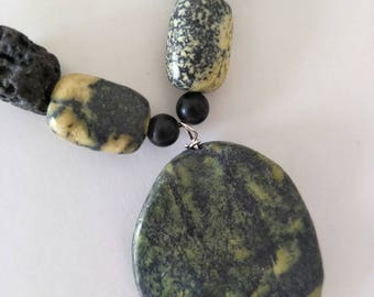 Serpentine and Lava Stone necklace and earring set.