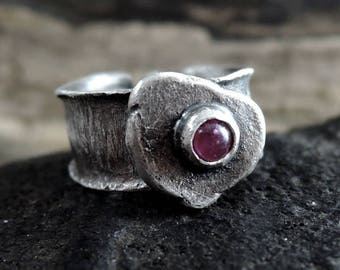 Tourmaline ring, silver rsing, rough, raw, sterling silver, ring, tourmaline