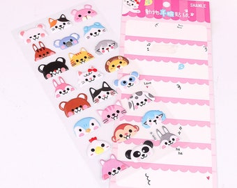DIY Colorful Animal Half Face Kawaii 3D Stickers Diary Planner Journal Note Diary Paper Scrapbooking Sticker - Pink
