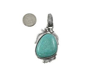 Large Turquoise Stone necklace Pendant