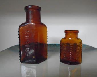 2 Amber Poison Bottles