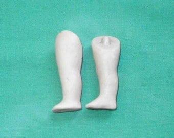 "dollhouse doll legs, bisque/1.97"", 0.7""/antique, vintage/1910s/Germany"