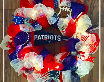 New England Patriots LED Wreath