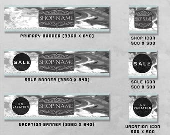Premade Banner and Icon set for Etsy and Facebook, Shop Front / Cover Image & Avatar, Business Design / Branding.