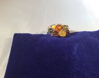 Genuine Multicoloured Baltic Amber sterling Silver Ring