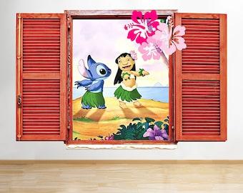 M202 Lilo Stitch Hawaii Dance Beach Window Wall Decal 3D Art Stickers Vinyl Room