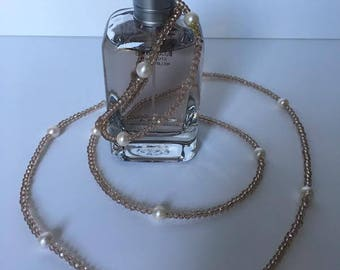 Extra long crystals and fresh water pearls necklace