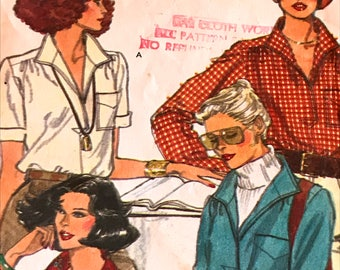 Chic Vogue Drawstring Shirt Pattern---Very Easy Vogue 9906---Size 12 Bust 34