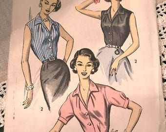 Rare Vintage 1950's Blouse Pattern---Advance 8511---Size 18 Bust 38 *******
