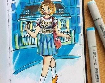 kawaii anime girl postcard <3 by Ester