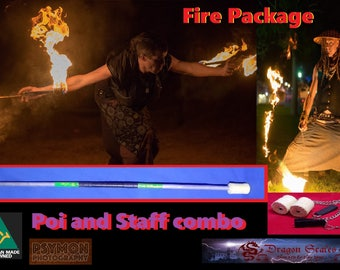 Fire poi and Fire staff combo spinning twirling package deal. (Black grip series)