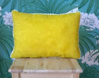 Yellow lace suedine cushion