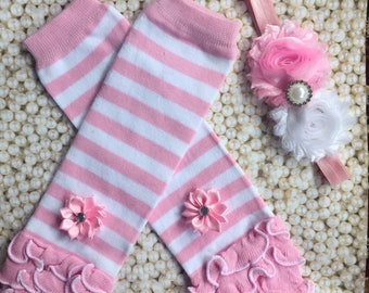 Pink and white leg warmers with matching flower headband/ baby leg warmers