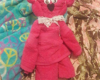 Full size origami towel teddy pink cute