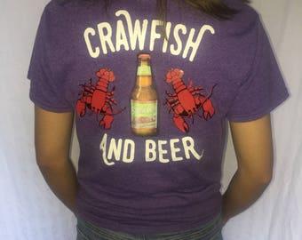 """Louisiana T-Shirt/ """"Big Easy"""" Crawfish and Beer Shirt"""