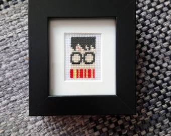 Harry Potter cross stitch with mount and black frame