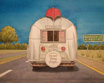 Airstream. On the Road Again. Watercolor Painting. Backroads of Texas. Texas. RV. RV Life. Canoe. Roadtrip. Campers. Prints. Watercolors