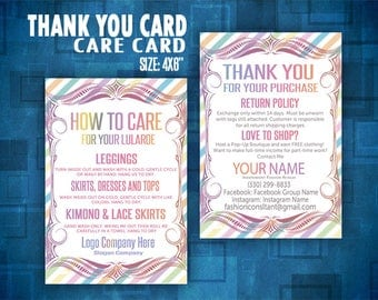 Thank You card, Care card, Thank You Cards, Return policy. Care card, 4x6''. consultant, llr business, Printable, Business Card, Care Cards