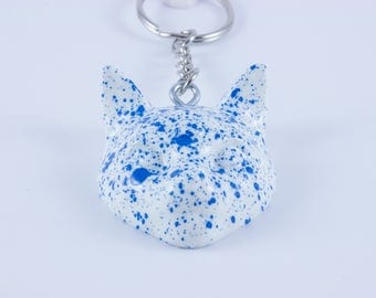 3 Eyed Cat Keychain - Spotty Blue