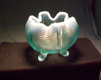 Fenton Blue Opalescent Three Footed Vase